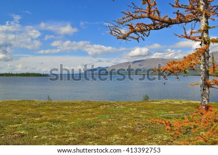 Mountain lake on the Putorana plateau. Water landscape, Putorana plateau, Siberia, Russia.