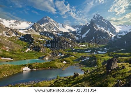 Mountain lake, Russia, Siberia, Altai mountains, Katun ridge. - stock photo