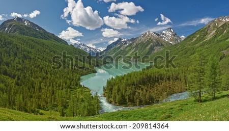 Mountain lake, Russia West Siberia, Altai mountains, Katun ridge. - stock photo
