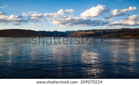 Mountain Lake Sunset - stock photo
