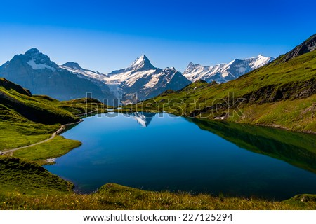 Mountain Lake - Switzerland - stock photo