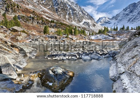 Mountain Lake, West Siberia, Altai mountains. - stock photo