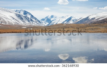 Mountain Lake winter day in clear weather - stock photo