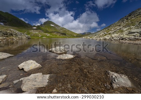 Mountain lake with blue sky and clouds