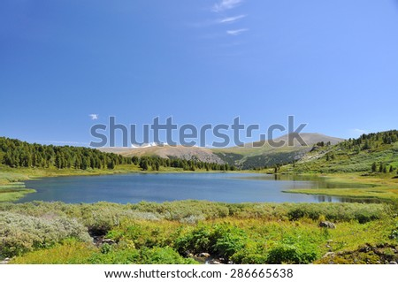 Mountain lakes , sky and grass, valley