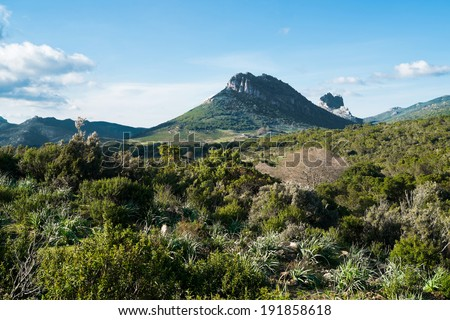 Mountain landscape along Road 125 between Baunei and Dorgali, Sardinia, Italy - stock photo