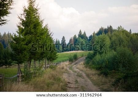 mountain landscape. Alpine meadows. pasture for cattle - stock photo