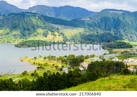 Mountain landscape and lake of Sete Cidades, Azores, Portugal Europe - stock photo