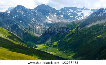 Mountain landscape around Sertig Dorfli taken from Jakobshorn, Davos, Switzerland - stock photo