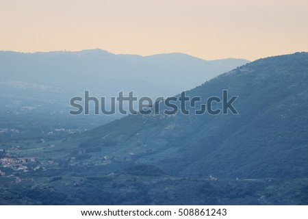 mountain landscape as seen from Scalambra mount, Frosinone, Italy