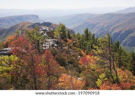 Mountain landscape at autumn, North Carolina, USA - stock photo