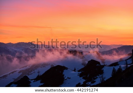 mountain landscape at sunset, Ciucas, Romania