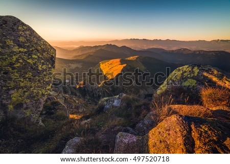 Mountain Landscape at Sunset. View from Mount Dumbier in Low Tatras, Slovakia. West Tatras Mountains in Background.