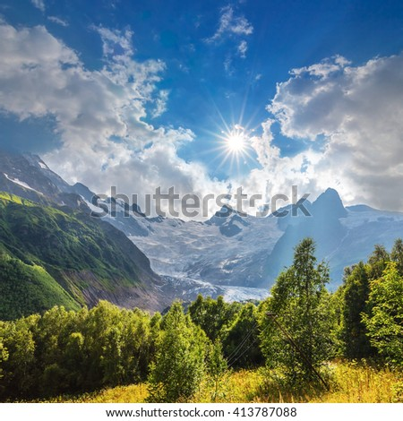 mountain landscape at the bright sunny day - stock photo