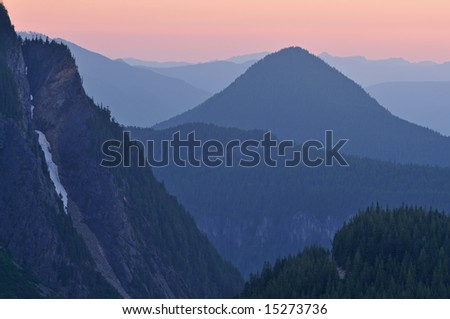 Mountain landscape at twilight from Mt. Ranier National Park, Washington, USA