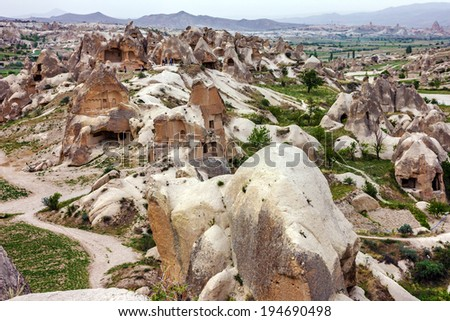 Mountain landscape, Cappadocia, Turkey. - stock photo