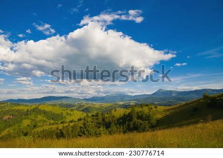 Mountain landscape, Carpathian, Ukraine - stock photo