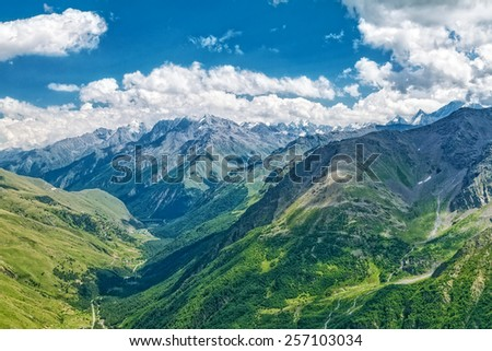 Mountain landscape. Caucasian National Park. Russia  - stock photo