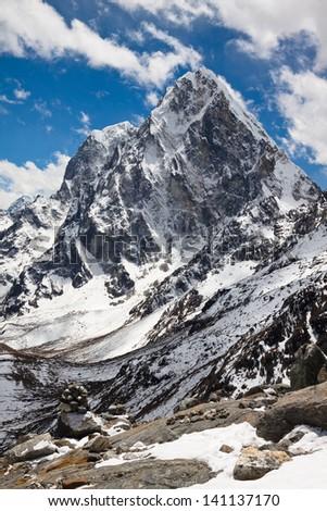 Mountain landscape.  Cholatse and Tabuche Peak. Trek to Everest base camp. Himalayas. Nepal - stock photo