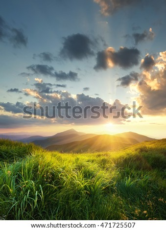 Mountain landscape during sunrise. Natural summer landscape in the mountain region