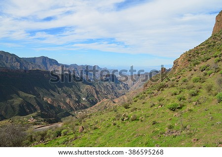 Mountain landscape from the island of Gran Canaria, Spain - stock photo