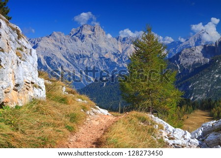 Mountain landscape in a sunny day, Dolomite Alps, Italy