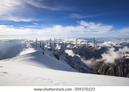 Mountain landscape in Alps, France with Mont Blanc in the background