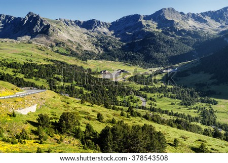 Mountain landscape in Andorra at summer (July)