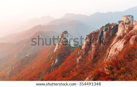 Mountain landscape in autumn at bukhansan national park korea - stock photo