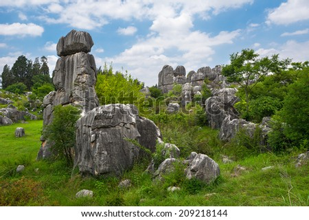 Mountain landscape in China ( Stone Forest National Park - UNESCO World Heritage site )
