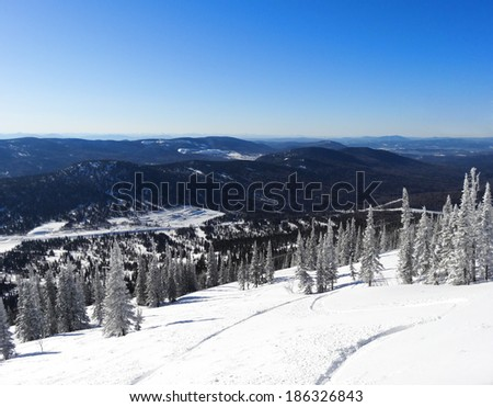 Mountain landscape in clear winter day. Russia, Sheregesh