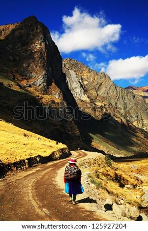 Mountain landscape in Cordiliera Huayhuash, Peru, South America - stock photo
