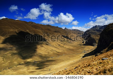 Mountain landscape in Cordiliera Huayhuash, Peru, South America