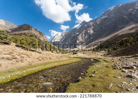Mountain landscape in fann mountains, Tajikistan. - stock photo