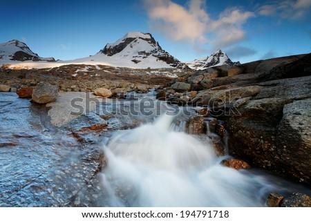 Mountain landscape in Gran Paradiso National Park, Italy - stock photo