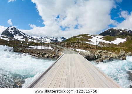 mountain landscape in Norway - stock photo