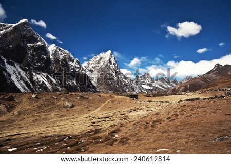 Mountain landscape in Sagarmatha National Park, Everest region, Nepal