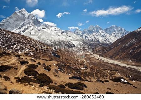 Mountain landscape in Sagarmatha national park, Nepal Himalaya - stock photo