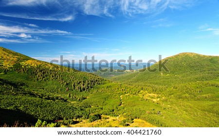 mountain landscape in summer day, blue sky above green Carpathian hills