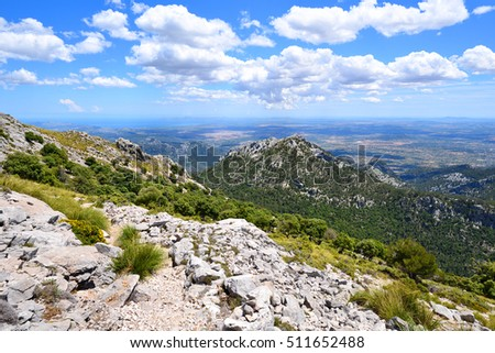 Mountain landscape in summer on the island of Mallorca in Spain