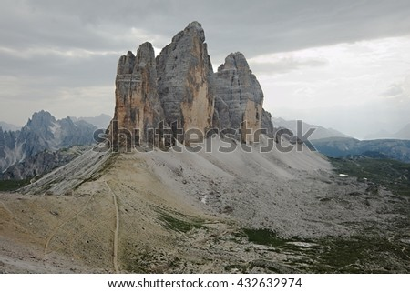 Mountain landscape in the Dolomites, Northern Italy - stock photo