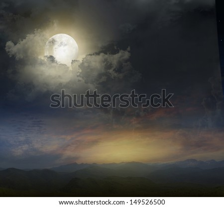 Mountain landscape in the evening with the moon - stock photo