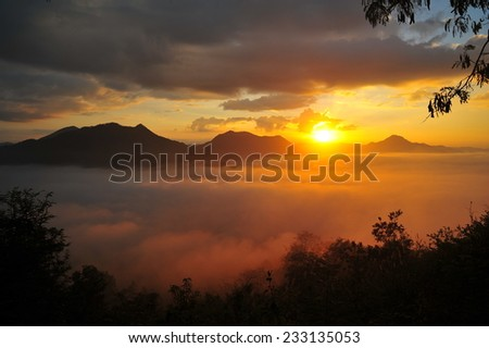 Mountain Landscape in the Mist at Sunrise