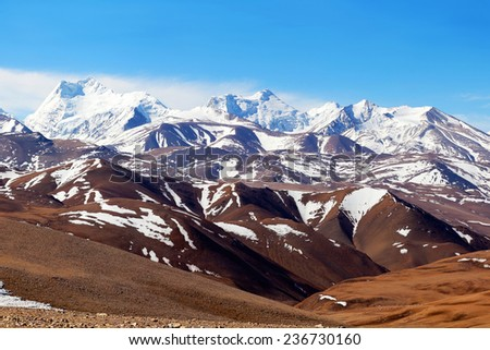 Mountain landscape in Tibet - stock photo