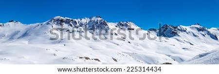 Mountain landscape in Tignes, France. - stock photo