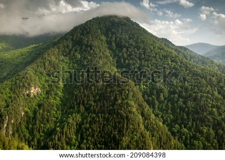 Mountain landscape in Turkey en route from Giresun to Susehri. - stock photo