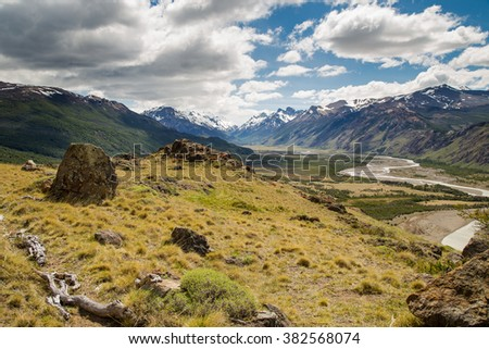 mountain landscape, mountain with river landscape, patagonia, south america - stock photo