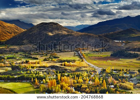Mountain landscape, near Queenstown, New Zealand - stock photo