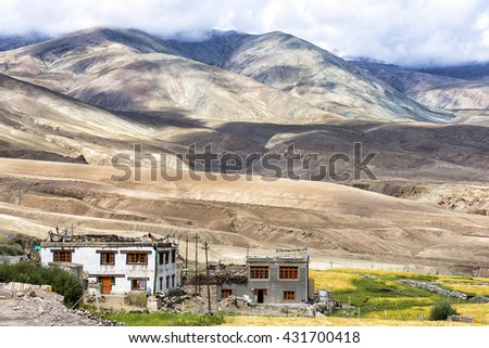 Mountain landscape near Rumste village in Ladakh region, India. Ladakh is the highest altitude plateau region in India, incorporating parts of the Himalayan and Karakoram mountain ranges. - stock photo