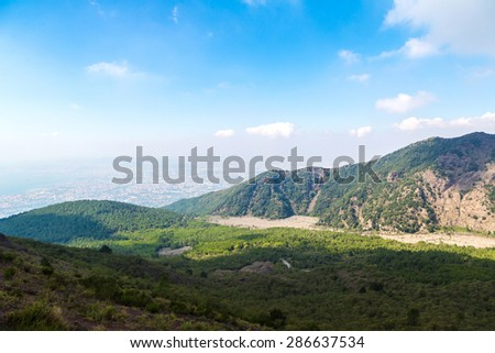 Mountain landscape next to Vesuvius volcano near Naples in a summer day, Italy